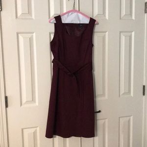 Dresses & Skirts - Wine colored sheath dress with belt
